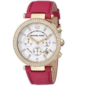 NWT Michael Kors Parker Chronograph Watch Pink